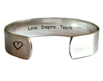Teacher Gift | Gift for Teachers | Daycare Gift | Babysitter Gift | Nanny Gift | Love.  Inspire.  Teach. Bracelet