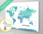 Personalized Push Pin World Map CANVAS World Map Watercolor Blue-Mint Countries  - World Map with Pins, Gift Idea, 240 Pins