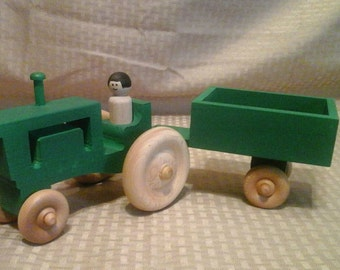 Wooden Tractor and wagon Painted Green