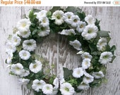 ON SALE Everyday Wreath, Spring Summer Wreath, White Wreath, Ivy Wreath, Morning Glory, Door Wreath