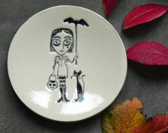 Black Cat and Girl Ceramic Plate Umbrella Pottery Ring Dish Halloween Decoration