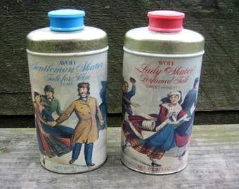 Vintage Avon Lady and Gentleman Skater Talc Powder Tins - 1969 Vintage Avon Lady and Gentleman Skater Powder Tins