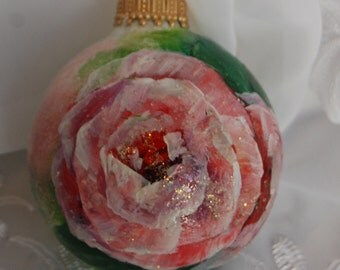 Hand Painted Rose Glass Ornament