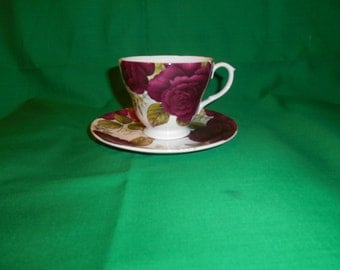 One (1), Bone China, Footed Tea Cup & Saucer, from Sadler, in a Wellington Rose Pattern.