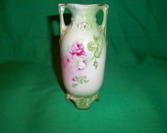 One (1), Hand Painted, Porcelain Bud Vase, with Rose Decoration.