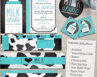 Milkaholic Baby Shower Party Suite - I LOVE Milk - Baby Boy or Girl - Blackboard, Chalkboard - Custom, Digital, Printable Designs