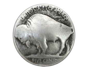 12 Buffalo Nickel 3/4 inch ( 20 mm ) Metal Buttons Silver Color