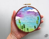 Woodland Embroidery Hoop Art, Cheryl Strayed, Nature Lover Gift, Cabin Wall Decor, Wilderness Art, Boho Cottage, Forest, Gift for Hiker
