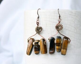 Wire Wrapped Eearrings - Wire Weaving Earrings - Yellow Tigers Eye Earrings - Tigers Eye Jewelry - Gemstone Earrings - Statement Earrings
