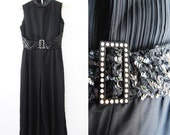 Vintage 1970a Black Plazzo Pant Suit Jumper / Sequin / Rhinestone / Glamour