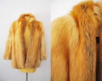 Vintage Red FOX Fur Coat Jacket Real Fur Shaggy Fluffy Winter Womens Medium Large Size Hollywood