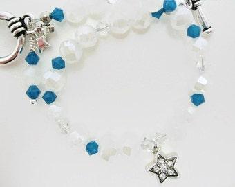 Glass Bracelet Twilight star fantasy gift for her Swarovski blue crystal nebula faceted glass