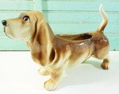 Large Vintage Basset Hound Planter Heavy Brown and Cream Dog Planter