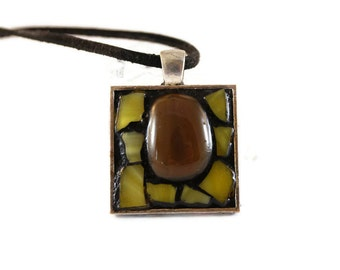Framed Pendant, Fused Glass Pendant, Yellow and Brown Glass Pendant, Nature, Mosaic Pendant, Sun Pendant, Wicca, Stained Glass Pendant