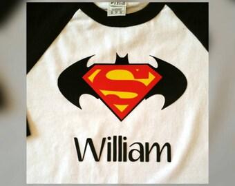 Batman and Superman Birthday Shirt, Batman, Superman, birthday Shirts, Batman vs. Superman Shirts,  Superheros, Superheros shirts