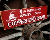 COPPERHEAD ROAD SIGN, Hand Painted Wooden Sign, Subway Art Sign,  Typography, Vintage Look Sign