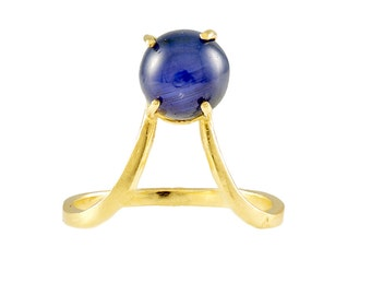 Blue Sapphire, Sapphire, Handmade, MOD, Hippy style, 14k, Solid Gold, Yellow Gold, Ring