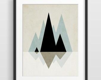Geometric Print Scandinavian Art Abstract Art Print Mid Century Modern Art Print Geometric Art Mountain Art Nordic Art Abstract Wall Art