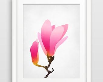 Flower Art Print, Pink Wall Art, Floral Art, Pink Nursery Decor, Art for Girls Room, Teen Girls Room Decor, Pink Decor, Magnolia Print