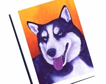 Siberian Husky Card Watercolor Dog Card Blank Greeting Card Set With Envelope Blank Note Card Set Thank You Card Watercolor Cards