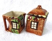 English Cottage Ware Cream And Sugar Price Brothers Hand Painted 1950s Cottageware