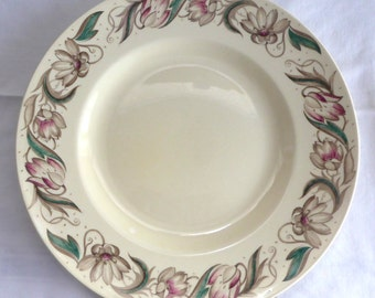 Vintage Susie Cooper Endon 10 Inch Dinner Plate 1940s England Retro Tulips Smooth Rim Dinner Party