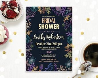 Autumn Bridal Shower Fall Bridal Shower Invitation Printable Black & Purple Wedding Shower Invite DIY Editable PDF Template INSTANT DownLOAD