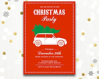 Holiday party invitations Printable - Christmas Party Invitation Instant Download - Red Christmas Card Christmas Holiday Party, Holiday Card