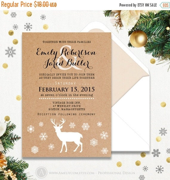 On sale winter 2016 printable wedding invitations by ameliycom for Wedding invitation template for sale