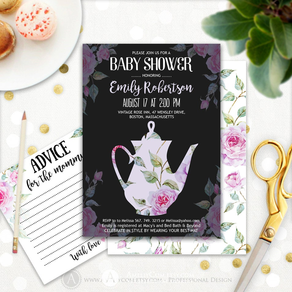 neutral baby shower tea party invitation printable lavender