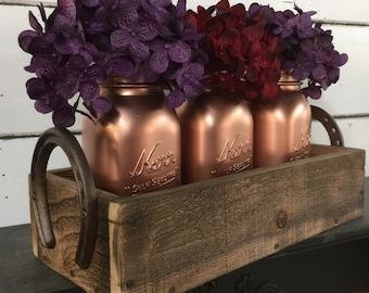 Painted Mason Jars, Mason Jar Caddy, Wedding Centerpiece, Rustic Wedding,Copper Penny Mason Jars,Rustic Centerpiece,Horseshoe Crate,Wood Box
