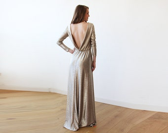 Gold Backless maxi dress with long sleeves, Open back maxi gold gown with long sleeves 1041