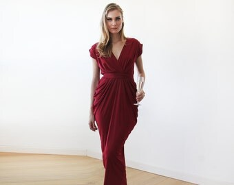 Wine red maxi formal dress , Maxi Bordeaux open back gown 1008