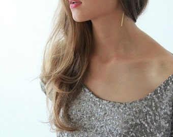 Sequin Silver top with short sleeves, Sparkling silver blouse