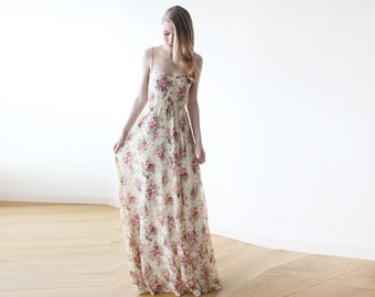 Sweetheart neckline maxi spring dress, Pink Floral Lace maxi straps ballerina gown, 1080