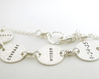 Serenity Courage Wisdom Custom Date Sobriety Bracelet Hand Stamped Sterling Silver Sober Anniversary - Sobriety Gift for Women
