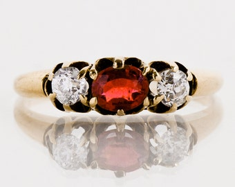 Antique Ring - Three-Stone Ring - Antique 14K Yellow Gold Diamond and Ruby Ring