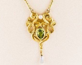 Antique Necklace - Antique Art Nouveau 14k Yellow Gold Peridot & Seed Pearl Conversion Necklace