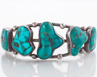 Vintage Cuff - Vintage Native American Sterling Silver Large Turquoise Cuff Bracelet