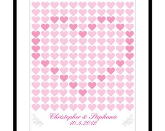 Wedding Guest Book Poster - Knitting Pattern of Love - Wedding Registry - 16x20 inch - 165 Signatures - Free Gift with Purchase