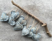 Hanging Heart, Hanging Hearts Ornament, Rustic , Bohemian, Heart Ornament, Wool Felt Heart, Blue Heart, Baby Boy, Nursery Decor, Baby Shower