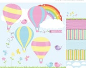 ON SALE - Clipart Combo - The places you'll go / hot air balloons Clip Art / Digital Clipart - Instant Download