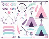 Clipart - Tribal Elements (2) Pink and Purple / American Indian Digital Clipart - Digital Clip Art (Instant Download)