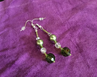 earrings made of green antique beads with pearls and crystals