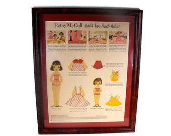 Vintage McCalls Magazine  - Girls Room Decor, Girls Room Wall Decor, Retro Girls Wall Decor, Vintage Paper Doll Decor
