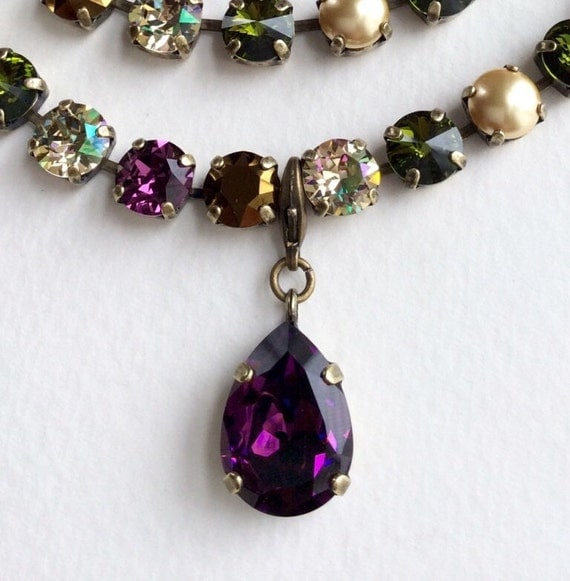 Swarovski Crystal - Designer Inspired - Pear Shaped Add - On Charm - Amethyst or Your Choice of Crystal & Setting - FREE SHIPPING