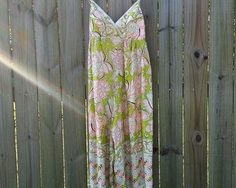 L Large Vintage 70s 80s Vanity Fair Disco Palazzo Party Holiday Glamorous Jumpsuit Romper Pastel Loungewear Lingerie