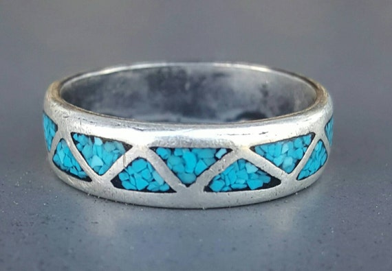 Vintage Navajo Native American Inverted Triangle Geometric Silver Turquoise Stone Wedding Band Ring