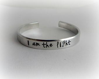 I am the light Hand Stamped Bracelet - Inspirational Bracelet - (John 8:12)