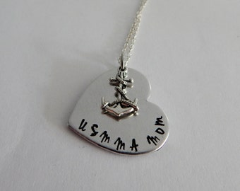 US Merchant Marine Mom Necklace - Hand Stamped USMMA Mom Heart Necklace with Anchor Charm - Anchor Necklace - Mother's Day Gift